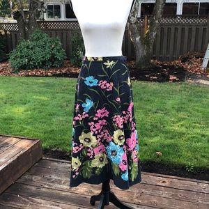 Anne Klein Corduroy Floral Flare Skirt